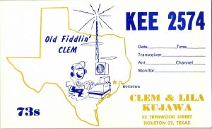 QSL Radio Card From Houston Texas KEE 2574