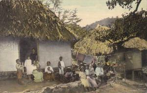 Panama Group Of Panama Natives With Home