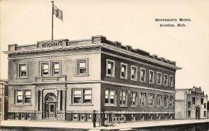 Gordon Nebraska~Merchants Hotel~Roof Garden~Artist Conception B&W RPPC c1914