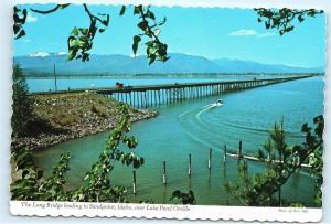 Lake Pend Oreille Idaho Long Bridge to Sandpoint Hwy 95 Selkirk 4x6 Postcard A43