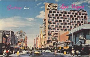Las Vegas NV Hotel Fremont Casino Signs Movie Marquee Old Cars Postcard