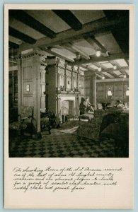 Steamer SS America~Gentleman in Steamship Smoking Room~United States Lines~c1930