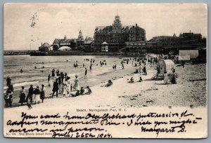 Postcard Narragansett Pier RI c1904 Pier View Beach Scene Beach Vendor Casino