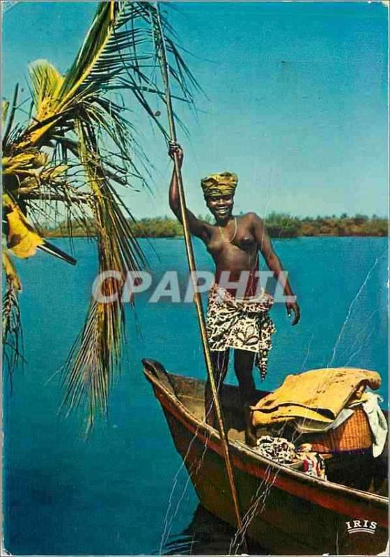 Modern Postcard Africa colors smile of Africa Woman Liberia Boat