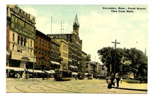 MA - Worcester. Front Street from Main Street, Trolleys