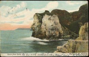 Giants Head Rock, Portrush, Antrim, Northern Ireland. 1905 Bushmills cancel