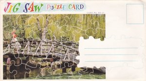 Puzzle Postcard , B.C. , Canada , 50-60s ; wooden bridge