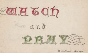 St Matthew Watch & Pray 1914 Wartime WW1 Christian Antique Postcard