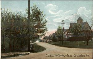 Salem Willows MA Columbus Ave c1910 Postcard