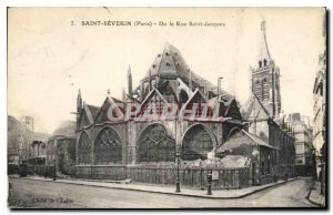 Postcard Old Saint Severin Paris From the Rue Saint Jacques