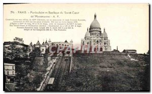 Postcard Old Paris Funicular and the Basilica of Sacre Coeur in Montmartre