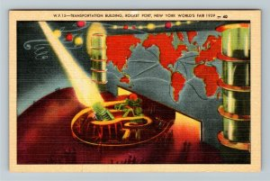 1939 New York World's Fair - Transportation Building, Rocket Point Postcard