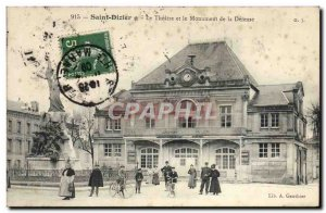 Old Postcard The theater and the monument of Defense Saint-Dizier