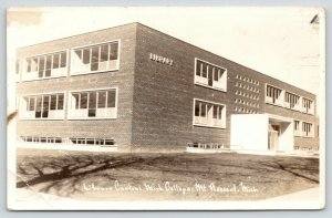 Mt Pleasant~Central Michigan College Library~You Can Count the Bricks~RPPC c1950