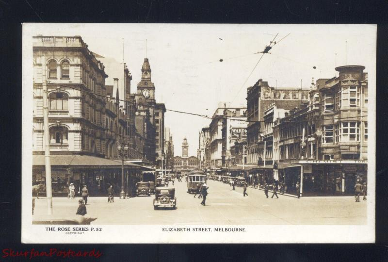 RPPC MELBOURNE AUSTRALIA DOWNTOWN STREET SCENE 1930's CARS REAL PHOTO POSTCARD