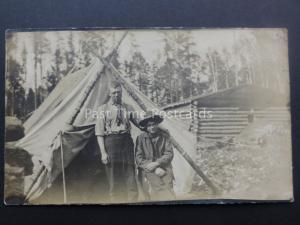 Young Men Camping & Log Cabin - Old RP Postcard