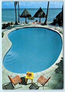 MOOREA, TAHITI ~ HOTEL MOOREA LAGOON Swimming Pool Vintage 4 x 6 Postcard