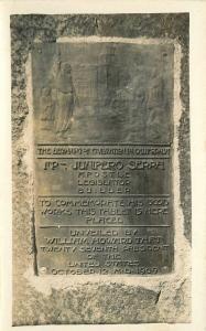 1920s Junipero Sierra Plaque Marker Monument Taft RPPC real photo postcard 724