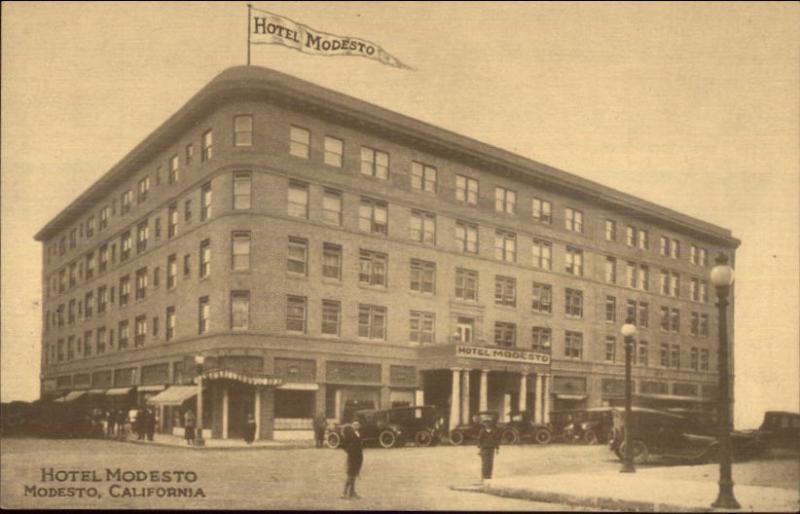 Modesto Ca Hotel Cars Street Pennant Flag On Roof C1910 Postcard