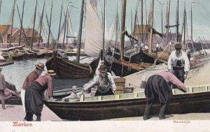 MARKEN, North Holland, Netherlands, 1900-10s; Havendijk, Repairing a row boat