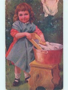 Divided-Back CUTE GIRL HELPS DO THE LAUNDRY WITH WASH BOARD AND TUB o7154