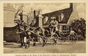 Virginia Williamsburg Colonial Coach At The Gates Of The Governors Palace Alb...