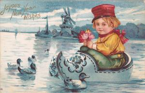 NEW YEAR; Joyous Wishes, Dutch boy in a huge floating shoe on a lake, Windmil...