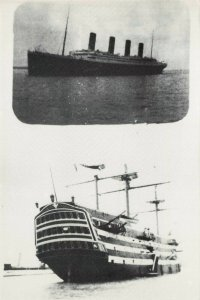 Postcard RMS Titanic and Nelson's ship HMS Victory BZ9