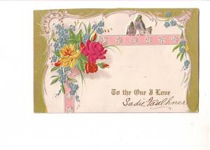 To the One I Love, Embossed with Silk Covered Flower and Birds