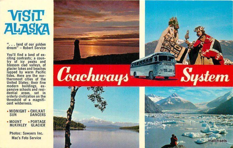 1950s ALASKA Bus Tour Multi View Traveltime postcard 3914 / HipPostcard
