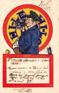Comic~Hi-Le Hi-Lo~German Drinking Drinks Beer~Belly Profile~Stein~1906 Postcard