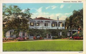 Natchez Mississippi~Elmscourt House~Iron Work from Belgium~Info Bk~1936 Postcard