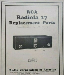 RCA Radiola 17 Replacement Parts Pamphlet 1927 Vintage Radio 4 Sided Ephemera