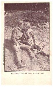 Virginia Manassas 1904 , Field manuvers , Soldier kissing girl,