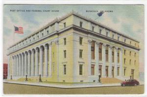 Federal Court House Post Office Muskogee Oklahoma 1947 linen postcard