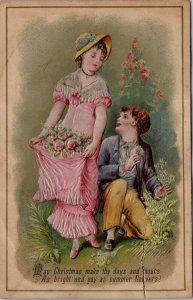 VINTAGE - EMBOSSED - CHRISTMAS - WOMAN MAN CARD VICTORIAN FLOWERS