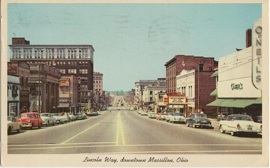 MASSILLON OH - Lincoln Way US #30 1950s view OLD BUILDINGS