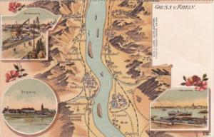 Germany Gruss Vom Rhein With Map