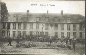 Vintage Postcard Interior Yard of L'Hospice CORBIE Somme France
