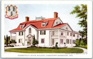 1907 Jamestown Exposition Virginia Postcard 131. CONNECTICUT STATE BUILDING Un
