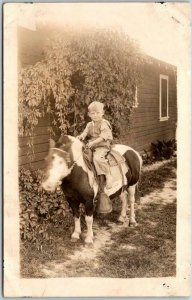 Vintage 1930s RPPC Real Photo Postcard Boy on Pony  - Unused