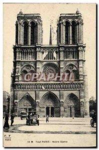Old Postcard Notre Dame Paris Automotive