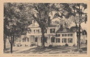 LANESBOROUGH, Massachusetts, 20-30s; Hillcrest Inn, Homestead of Josh Billings
