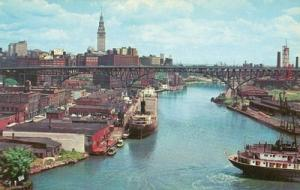 Entrance to Cuyahoga River, Cleveland, Ohio old unused ch...