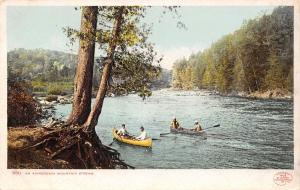 Adirondack Mts New York~Canoeing a Mountain Stream~1902 Detroit Pub Co~#9811