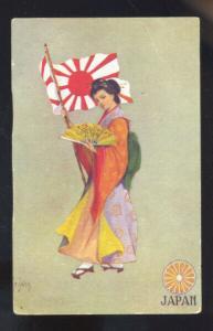 JAPAN JAPANESE GEISHA GIRL & FLAG ANTIQUE VINTAGE POSTCARD ARMOUR S.D