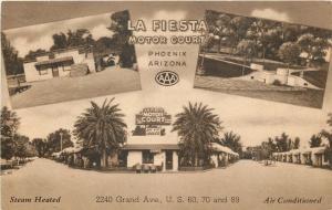 Phoenix Arizona~La Fiesta Motor Court And Cafe~Motel~1950 Sepia Linen Postcard