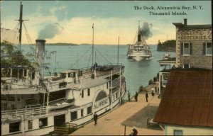 Alexandria Bay Thousand Islands NY Steamer Boat St. Lawrence Dock Postcard