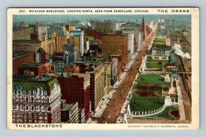 Chicago IL-Illinois, The Drake & The Blackstone Aerial, Vintage c1923 Postcard