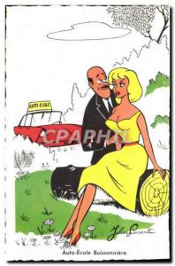 Old Postcard Fantasy Humor Auto Ecole Buissonniere Automotive